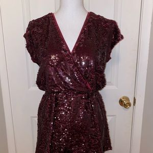 Honey Punch Shorts - Burgundy sequence going out New Year's romper!